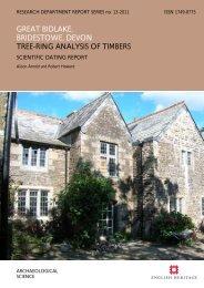 great bidlake, bridestowe, devon tree-ring ... - English Heritage