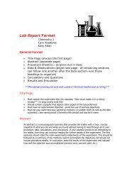 Lab Report Format - Cary Academy