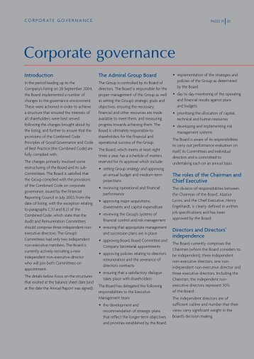 Corporate governance - the Admiral Group plc