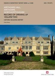 APETHORPE, NORTHAMPTONSHIRE RECORD ... - English Heritage