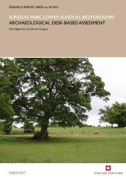 sundon park, lower sundon, bedfordshire ... - English Heritage