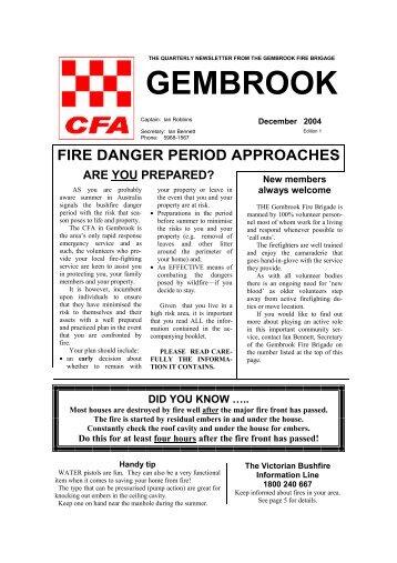 No. 1 (December 2004) - Gembrook Rural Fire Brigade