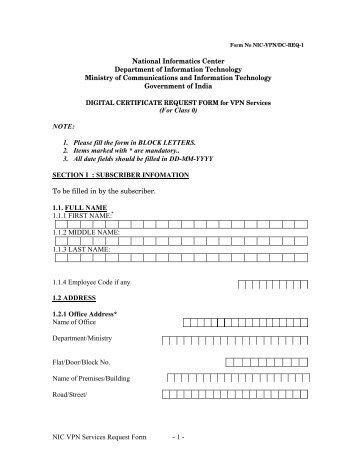 NIC VPN Services Request Form - 1 - National Informatics Center ...