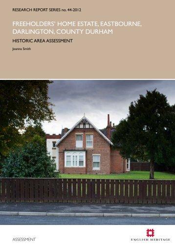 fREEHOldERS' HOmE ESTATE, EASTbOuRnE ... - English Heritage