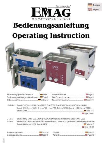 Ultraschallgeräte Bedienungsanleitung / Operating Instruction