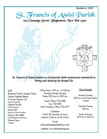 10/6/2013 bulletin - St. Francis of Assisi Home Page