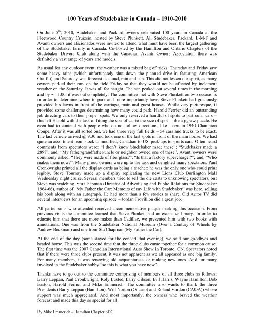 History of Studebaker in Canada - Studebaker Drivers Club ...