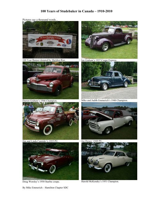 History of Studebaker in Canada - Studebaker Drivers Club ...