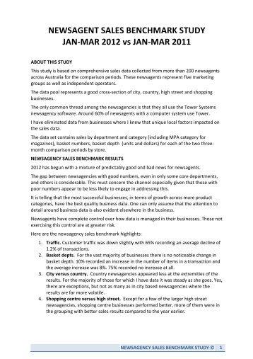 newsagency sales benchmark - Australian Newsagency Blog