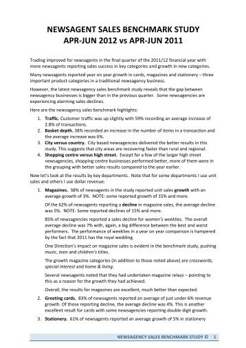 newsagency sales benchmark report - Australian Newsagency Blog