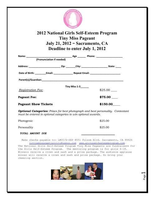 2012 National Girls Self-Esteem Program Tiny Miss Pageant