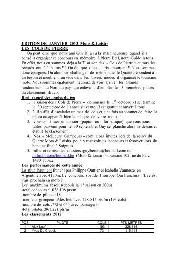 EDITION DE JANVIER 2013 Moto & Loisirs LES COLS ... - MotoBalade