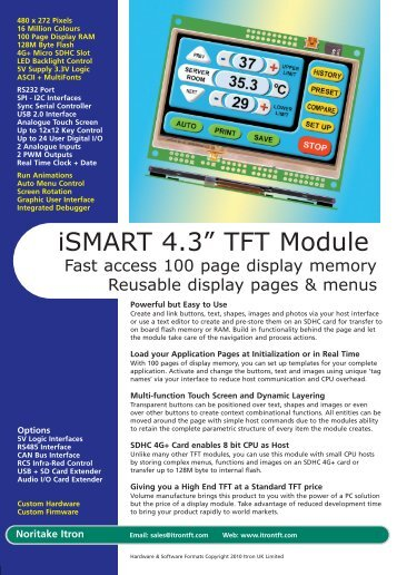 ITRON TFT flyer 2pp - Noritake Itron VFD Display Modules