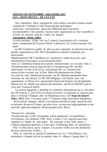 EDITION DE SEPTEMBRE M&LOISIRS 2013 LES ... - MotoBalade