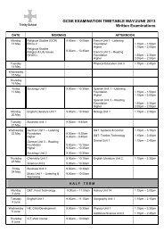 GCSE Exam Timetable May/June 2009 - Trinity School