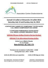 Samedi 13 Juillet et Dimanche 14 Juillet 2013 ... - Canuck Dogs