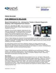 FOR IMMEDIATE RELEASE Quest International, Inc. Announces ...
