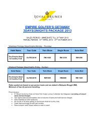 EMPIRE GOLFER'S GETAWAY 3DAYS/2NIGHTS PACKAGE 2013