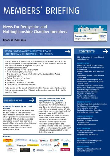 April 2013 - Derbyshire and Nottinghamshire Chamber of Commerce