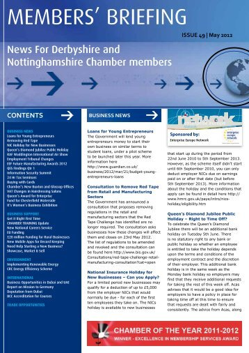 May 2012 - Derbyshire and Nottinghamshire Chamber of Commerce