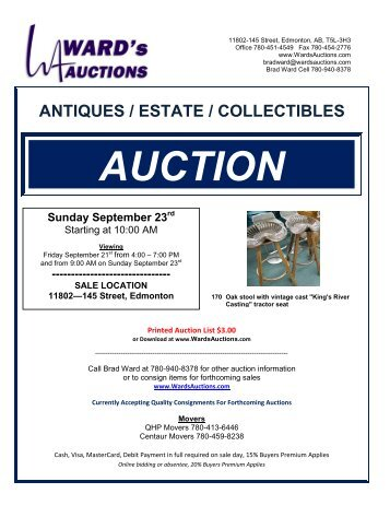 ANTIQUES / ESTATE / COLLECTIBLES AUCTION ... - Ward's Auctions