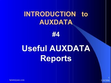 Useful AUXDATA Reports