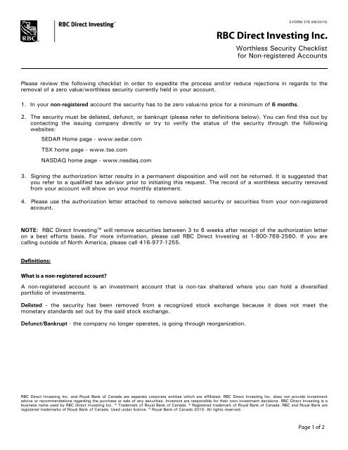 Worthless Security Checklist - RBC Direct Investing