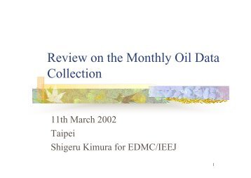 Review on the Monthly Oil Data Collection