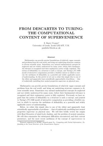 from descartes to turing: the computational content of ... - CiteSeerX