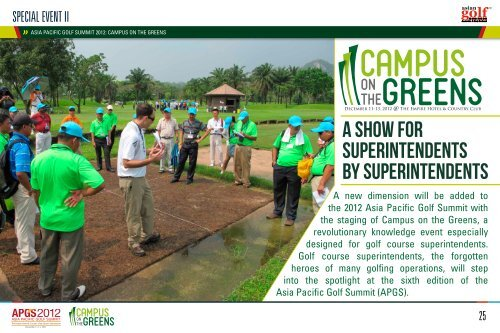 A Show for superintendents by Superintendents - Asia Pacific Golf ...
