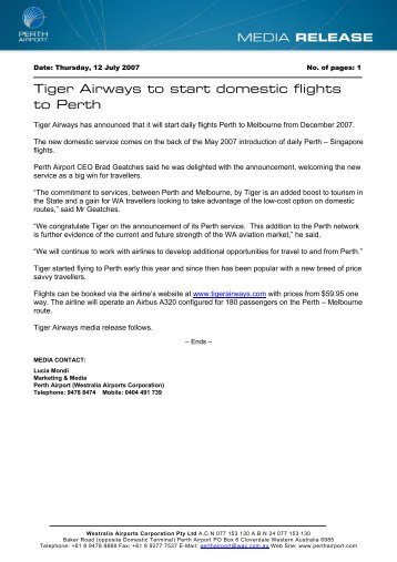 Tiger Airways to start domestic flights to Perth - Perth Airport