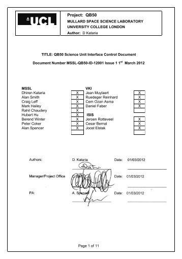 QB50 Science Unit Interface Control document