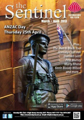Sentinel - March & April 2013 - Hornsby RSL Club