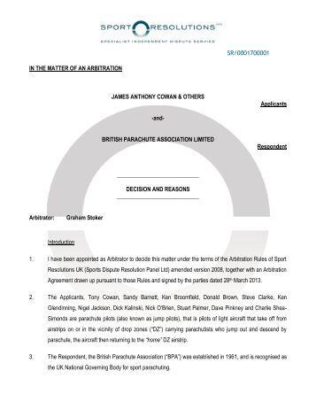 Arbitration decision in full - British Parachute Association