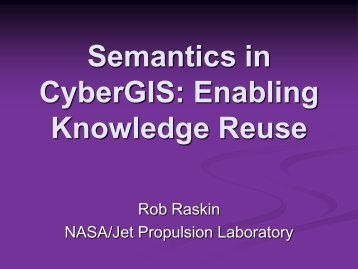 Semantics in CyberGIS: Enabling Knowledge Reuse