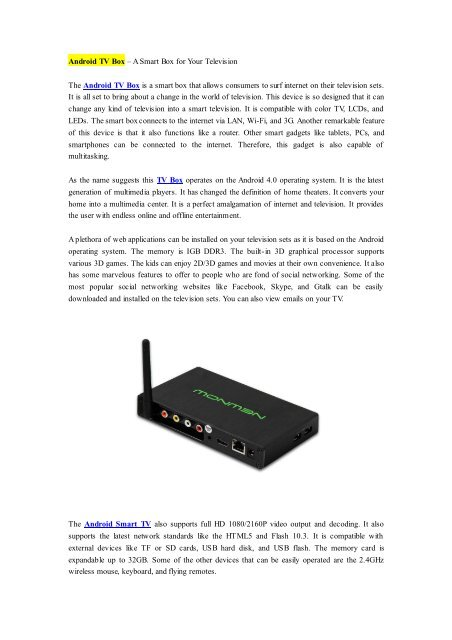 Android TV Box – A Smart Box for Your Television pdf