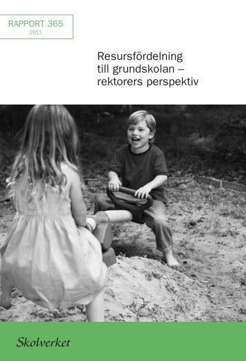 Resursfördelning till grundskolan – rektorers perspektiv - Skolverket