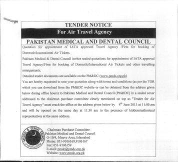 TENDER NOTICE for Air Travel Agency - Pakistan Medical & Dental ...