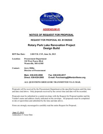Rotary Park Lake Renovation Project Design Build - The City of ...