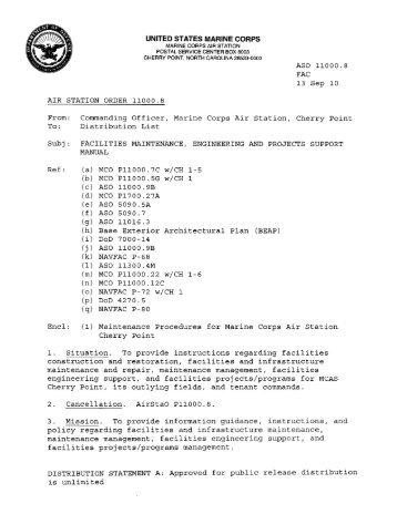 (a) MCO P11000.7C w/CH 1 - MCAS Cherry Point - Marine Corps