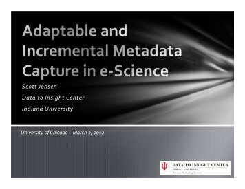Adaptable and Incremental Metadata Capture in e-Science