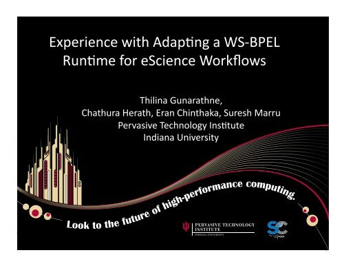 """Experience with Adap""""ng a WS‐BPEL Run""""me for eScience Workflows"""