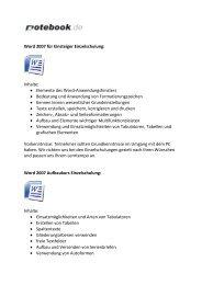 Word 2007 für Einsteiger Einzelschulung: Inhalte ... - Notebook.de