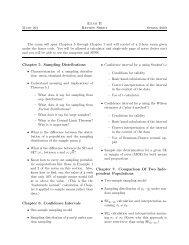 Exam II Review Sheet Chapter 5. Sampling Distributions Chapter 6 ...