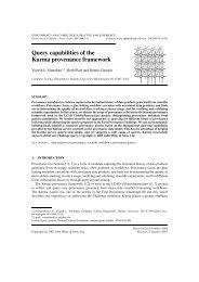 Query capabilities of the Karma provenance framework