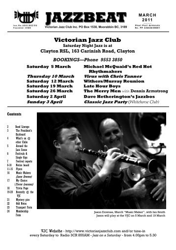 jazzbeat mar11 - Victorian Jazz Club