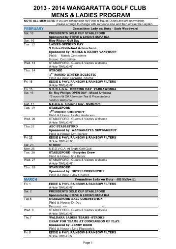 2013 - 2014 wangaratta golf club mens & ladies program