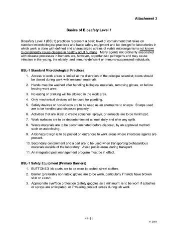 Basics of Biosafety Level 1 - OFEO