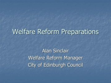 CEC Welfare Reform Preparations February 2013 - Joined up for Jobs