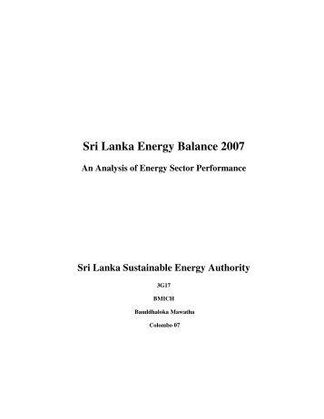 Sri Lanka Energy Balance 2007 - Sri Lanka Sustainable Energy ...